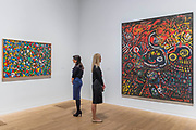 Abstract Parrot, 1948, and Alice in Wonderland, 1952 - Princess Fahrelnissa Zeid: the UK's first retrospective of a pioneering artist best known for her large-scale colourful canvases, fusing European approaches to abstract art with Byzantine, Islamic and Persian influences. The exhibition is at Tate Modern from 13 June – 8 October 2017.