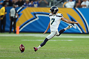 Seattle Seahawks quarterback Austin Davis (6) kicks off during the 2017 NFL week 1 preseason football game against the against the Los Angeles Chargers, Sunday, Aug. 13, 2017 in Carson, Calif. The Seahawks won the game 48-17. (©Paul Anthony Spinelli)