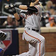 NEW YORK, NEW YORK - October 5: Angel Pagan #16 of the San Francisco Giants batting during the San Francisco Giants Vs New York Mets National League Wild Card game at Citi Field on October 5, 2016 in New York City. (Photo by Tim Clayton/Corbis via Getty Images)