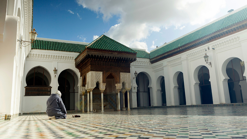 FEZ, MOROCCO - 2ND FEBRUARY 2018 - Al-Kairouine Mosque and University, Fez Medina, Morocco.<br />