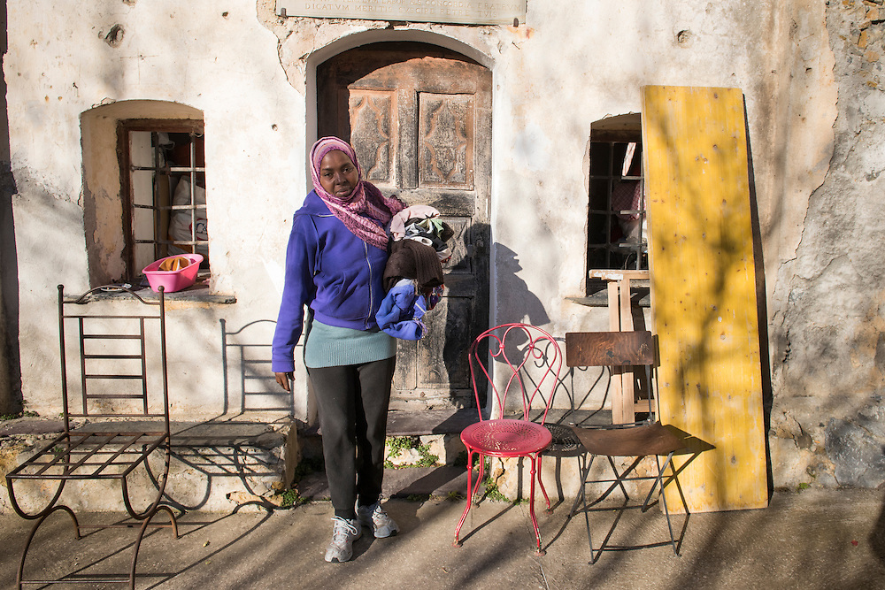 December 6, 2016 - Breil-sur-Roya, France: Husna, a refugee from Sudan, in front of Francoise Cotta's house where she found shelter with her family. <br /> <br /> 6 d&eacute;cembre 2016 - Breil-sur-Roya, France: Husna, r&eacute;fugi&eacute;e soudanaise, devant la maison de Fran&ccedil;oise Cotta o&ugrave; elle a trouv&eacute; refuge aupr&egrave;s de sa famille.