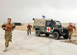 © London News Pictures. 11/06/11. AFGHANISTAN. The team have less than 5 minutes to respond to a medical emergency when dealing with some of the most serious levels of trauma, including amputations and gun shot wounds. The RAF Regiment's Medical Emergency Response Team (MERT) is made up of two teams based in 'Main Operating Base Bastion', they are responsible for extracting casualties from anywhere within Helmand Province.  The MERT consists of a doctor, an emergency department nurse and two paramedics.  In addition four Royal Air Force Regiment gunners provide armed protection when they land and leave the helicopter to collect the casualty.   Caption must read Alison Baskerville/LNP...