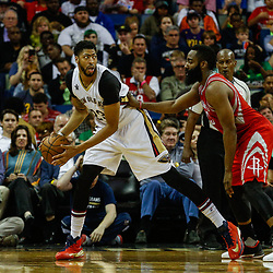 Mar 17, 2017; New Orleans, LA, USA; New Orleans Pelicans forward Anthony Davis (23) is defended by Houston Rockets guard James Harden (13) during the second quarter of a game at the Smoothie King Center. Mandatory Credit: Derick E. Hingle-USA TODAY Sports