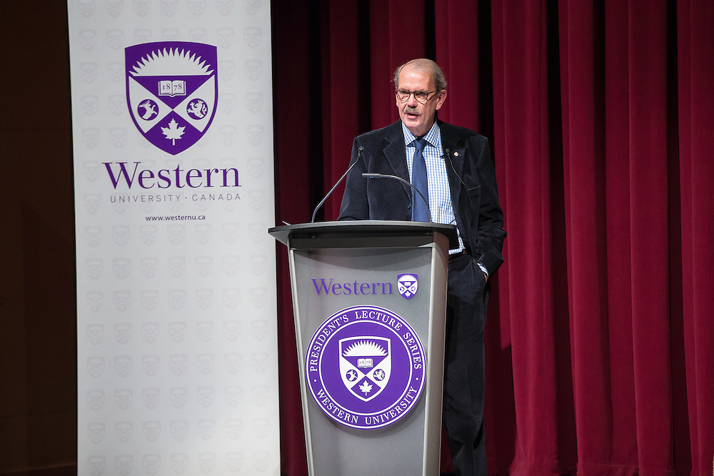 """Dr. David Bentley, winner of the 2015 Canada Council Killam Prize, delivers his lecture """"Simile, Metaphor, and the Making and Perception of Canada,"""" , the latest in the President's Lecture Series at Western University in London, Ontario November 25, 2015.<br />  Geoff Robins"""