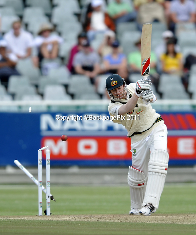 Michael Clark (captain) of Australia is bowled by Morne Morkel of South Africa for 151. South Africa v Australia, first test, day 2, Newlands, South Africa. 10 November 2011<br /> <br /> <br /> &copy;Ryan Wilkisky/BackpagePix