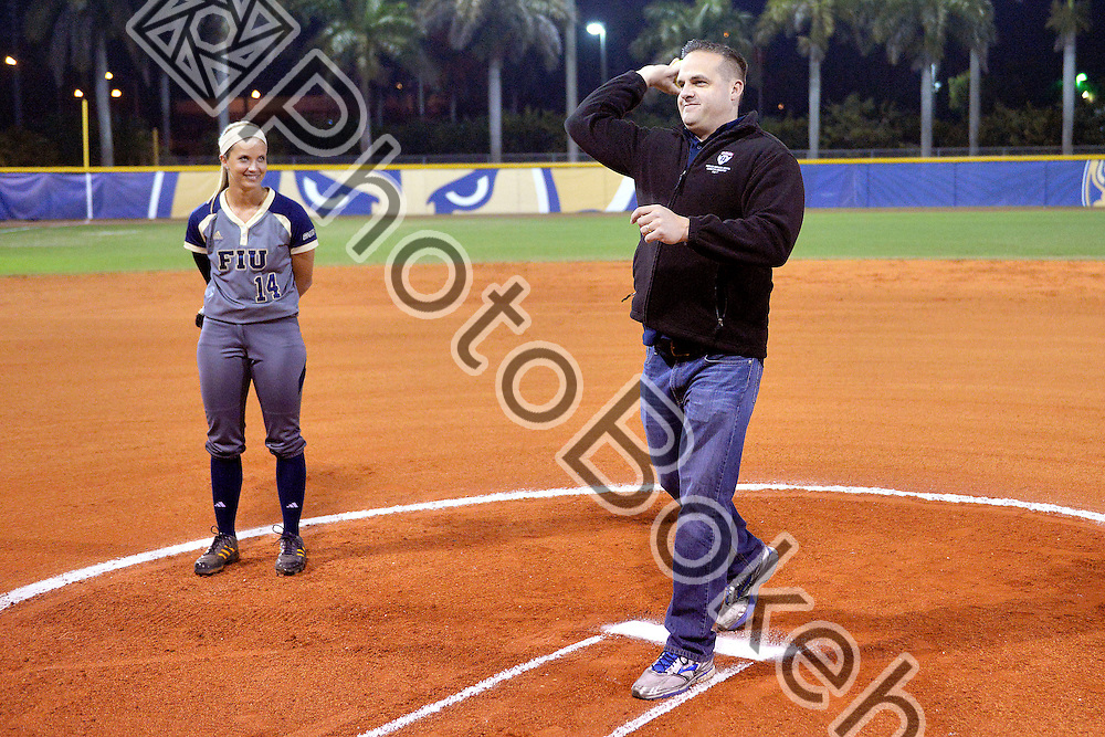 2015 February 13 - Florida International University defeated Memphis, 3-2, at the Felsberg Field at the FIU Softball Stadium, Miami, Florida. (Photo by: Alex J. Hernandez / photobokeh.com) This image is copyright by PhotoBokeh.com and may not be reproduced or retransmitted without express written consent of PhotoBokeh.com. ©2015 PhotoBokeh.com - All Rights Reserved