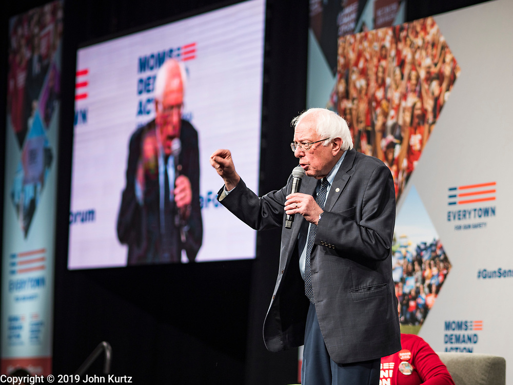 10 AUGUST 2019 - DES MOINES, IOWA: Senator BERNIE SANDERS, (Ind-VT), a Democratic Presidential candidate, answers questions from gun violence survivors at the Presidential Gun Sense Forum. Several thousand people from as far away as Milwaukee, WI, and Chicago, came to Des Moines Saturday for the Presidential Gun Sense Forum. Most of the Democratic candidates for president attended the event, which was organized by Moms Demand Action, Every Town for Gun Safety, and Students Demand Action.          PHOTO BY JACK KURTZ
