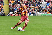 Bradford City defender Anthony McMahon (29)  kicks forward  during the EFL Sky Bet League 1 match between Bradford City and Blackburn Rovers at the Northern Commercials Stadium, Bradford, England on 19 August 2017. Photo by Ian Lyall.