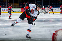 KELOWNA, CANADA - NOVEMBER 25: Kristians Rubins #5 of the Medicine Hat Tigers warms up with a shot on net against the Kelowna Rockets on November 25, 2017 at Prospera Place in Kelowna, British Columbia, Canada.  (Photo by Marissa Baecker/Shoot the Breeze)  *** Local Caption ***