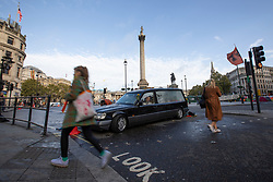 © Licensed to London News Pictures. 08/10/2019. London, UK. Extinction Rebellion protesters lock on in a hearse in Trafalgar Square . Photo credit: George Cracknell Wright/LNP