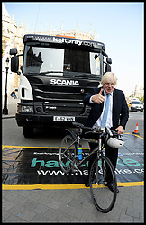 The Mayor of London Boris Johnson  unveils plans to tackle HGV-cycle safety in capital, London, United Kingdom. Wednesday, 4th September 2013. Picture by Andrew Parsons / i-Images