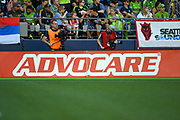 Advocare advertisement at CenturyLink Field during a MLS soccer match between the LA Galaxy and the Seattle Sounders on Saturday, September 1, 2019, in Seattle, Washington. (Alika Jenner/Image of Sport via AP)