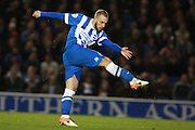 Brighton striker Jiri Skalak volleys home to make it 2-0 during the Sky Bet Championship match between Brighton and Hove Albion and Queens Park Rangers at the American Express Community Stadium, Brighton and Hove, England on 19 April 2016. Photo by Bennett Dean.