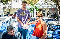 Gregor Krusic and Urska Koncar during 1st Round of Qualifications at ATP Challenger Tilia Slovenia Open 2016, on August 6, 2016 in Portoroz/Portorose, Slovenia. Photo by Vid Ponikvar / Sportida