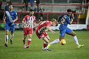 Ebby Nelson-Addy (Hartlepool United) blocks Brad Halliday (Accrington Stanley) pass during the Sky Bet League 2 match between Accrington Stanley and Hartlepool United at the Fraser Eagle Stadium, Accrington, England on 19 January 2016. Photo by Mark P Doherty.
