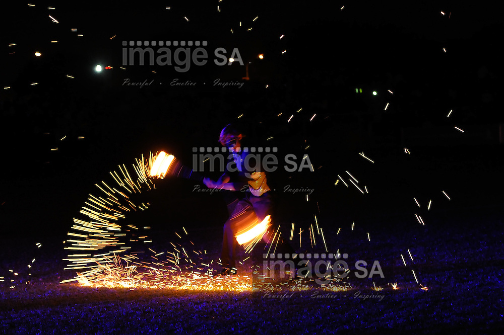 CAPE TOWN, South Africa - Friday 29 March 2013, a flamethrower during the opening ceremony of the 25th Metropolitan Premier Cup soccer tournament taking place at Erica Park Sports Complex in Belhar..Photo by Roger Sedres/ ImageSA