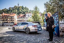 Sabrina Pecelin, Head of PR of Porsche Slovenija during presentation of VW Volkswagen car company as an official mobility partner of Futsal EURO 2018 in Ljubljana, Slovenia, on September 28, 2017. Photo by Vid Ponikvar / Sportida