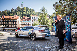 Sabrina Pecelin, Head of PR of Porsche Slovenija during presentation of VW Volkswagen car company as an official mobility partner of Futsal EURO 2018 in Ljubljana, Slovenia, on September 28, 2017. Photo by Vid Ponikvar / Sportida