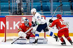 Dmitri Milchakov of Belarus, Robert Sabolic of Slovenia and Nick Bailen of Belarus during ice hockey match between Belarus and Slovenia at IIHF World Championship DIV. I Group A Kazakhstan 2019, on May 2, 2019 in Barys Arena, Nur-Sultan, Kazakhstan. Photo by Matic Klansek Velej / Sportida