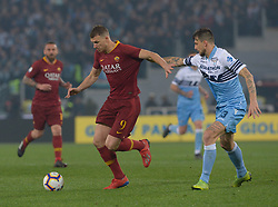 March 2, 2019 - Rome, Lazio, Italy - Edin Dzeko vies Francesco Acerbi during the Italian Serie A football match between S.S. Lazio and A.S Roma at the Olympic Stadium in Rome, on march 02, 2019. (Credit Image: © Silvia Lore/NurPhoto via ZUMA Press)