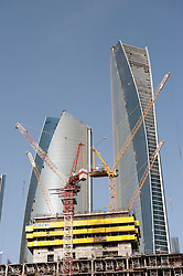 Construction  site of new high rise office towers in Abu Dhabi United Arab Emirates UAE