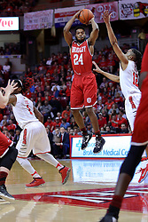 11 February 2017:  JoJo McGlaston defended by Tony Wills(12) during a College MVC (Missouri Valley conference) mens basketball game between the Bradley Braves and Illinois State Redbirds in  Redbird Arena, Normal IL