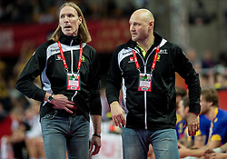 Staffan Olsson, coach of Sweden and Ola Lindgren, coach of Sweden during handball match between National teams of Germany and Sweden on Day 4 in Preliminary Round of Men's EHF EURO 2016, on January 18, 2016 in Centennial Hall, Wroclaw, Poland. Photo by Vid Ponikvar / Sportida