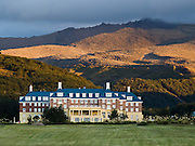 Chateau Tongariro (built 1929), Whakapapa Village, Tongariro National Park, New Zealand, North Island. In 1990 and 1993, UNESCO honored Tongariro National Park as a World Heritage Area and Cultural Landscape.