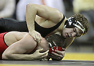 January 22 2010: Iowa's Mark Ballweg works on Ohio State's Randy Languis during the 141-pound bout an NCAA wrestling dual at Carver-Hawkeye Arena in Iowa City, Iowa on January 22, 2010. Ballweg defeated Languis in a major decision 10-2 and Iowa defeated Ohio State 33-3..