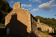 Terraced mill workers' homes at New Lanark, the industrial revolution community village managed by social pioneer Robert Owen.