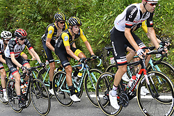 July 27, 2018 - Laruns, France - DANIEL MARTIN (IRL) of UAE Team Emirates, GESINK Robert (NED) of Team Lotto NL - Jumbo, ROGLIC Primoz (SLO) of Team Lotto NL - Jumbo during stage 19 of the 105th edition of the 2018 Tour de France cycling race, a stage of 200,5 kms between Lourdes and Laruns. (Credit Image: © Panoramic via ZUMA Press)
