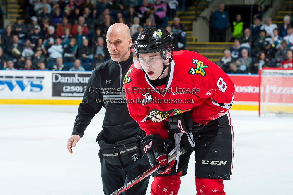 KELOWNA, CANADA - APRIL 14: Portland Winterhawks' athletic therapist Rich Campbell tends to Cody Glass #8 of the Portland Winterhawks on April 14, 2017 at Prospera Place in Kelowna, British Columbia, Canada.  (Photo by Marissa Baecker/Shoot the Breeze)  *** Local Caption ***