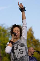 Tina Marinsek of Slovenian Music band Tabu at the 14th Marathon of Ljubljana, on October 25, 2009, in Ljubljana, Slovenia.  (Photo by Vid Ponikvar / Sportida)