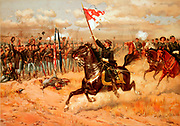 American Civil War 1861-1865:  'Sheridan's Ride'.  Battle of Opequon also called Third Battle of Winchester, 19 September 1864. Union forces under Sheridan defeated Confederates under Early. Print c1886.