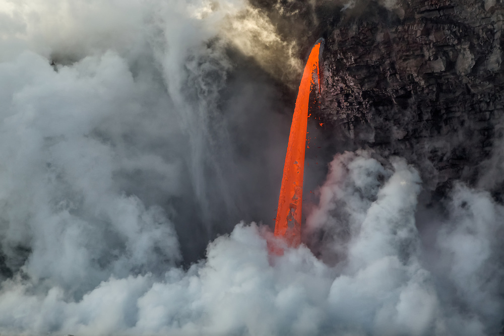 Fire hose lava flow from Hawaii's Kilauea Volcano, aerial view, Volcanoes National Park, Hawaii