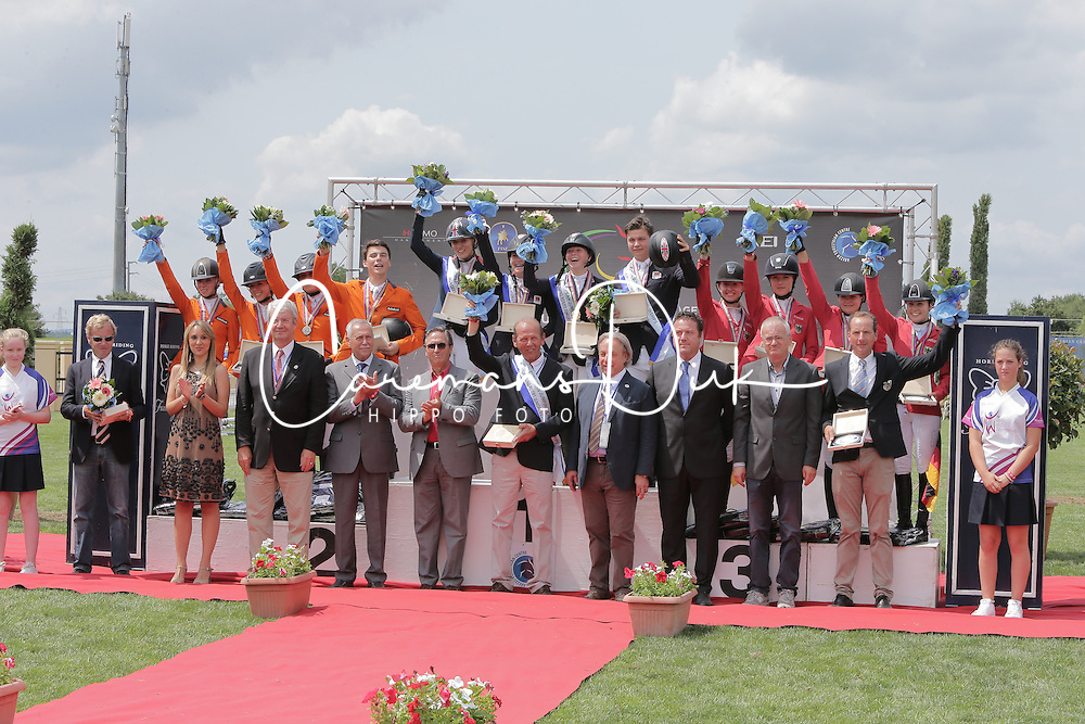 Team podium juniors winners of the FEI European Jumping Championship for juniors <br /> 1. GBR : Christie Pritchard, Millie Allen, Jessica Mendoza and Jake Saywell<br /> 2. NED : Kim Hoogenraat, Kim Brtil, Demi van Grunsven, Jens van Grunsven, chef d'equipe Roelof Bril<br /> 3. GER : Theresa Ripke, Laura Strehmel, Leonie Krieg, Teike Carstensen<br /> Arezzo 2014<br /> © Hippo Foto - Stefano Secchi