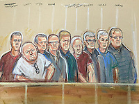 Nine members of the Hatton Garden Heist gang in court today. 4th September 2015.<br />