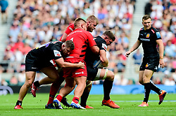 Dave Ewers of Exeter Chiefs is tackled by Richard Barrington of Saracens - Mandatory by-line: Ryan Hiscott/JMP - 01/06/2019 - RUGBY - Twickenham Stadium - London, England - Exeter Chiefs v Saracens - Gallagher Premiership Rugby Final