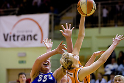 Rankica Sarenac of Merkur vs Natallia Tratsiak of Hit  at 4th final match of Slovenian women basketball 1st league between Hit Kranjska Gora and ZKK Merkur Celje, on May 13, 2010, in Arena Vitranc, Kranjska Gora, Slovenia. Celje defeated Kr. Gora 71-60 and the result after 4th match is 2-2. (Photo by Vid Ponikvar / Sportida)