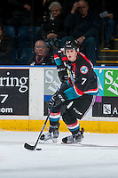 KELOWNA, CANADA - NOVEMBER 1: Lucas Johansen #7 of the Kelowna Rockets skates with the puck against the Kamloops Blazers on November 1, 2016 at Prospera Place in Kelowna, British Columbia, Canada.  (Photo by Marissa Baecker/Shoot the Breeze)  *** Local Caption ***