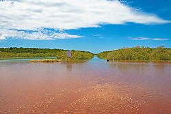Streeter's Jetty goes underwater on one of the highest tides of the year in Broome, WA.