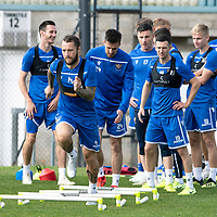 St Johnstone Training….<br />Stevie May pictured during training at McDiarmid Park ahead of Sunday's game against Rangers<br />Picture by Graeme Hart.<br />Copyright Perthshire Picture Agency<br />Tel: 01738 623350  Mobile: 07990 594431