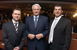 Left to right, property agent JONATHAN POWER, SIR BOBBY ROBSON and PAUL VALLONE Divisional MD of Berkeley Homes at a sales event for the exclusive Chelsea Bridge Wharf in aid of CLIC Sargeant cancer charity held at Stamford Bridge football stadium, Chelsea, London on 7th February 2006.<br /><br />NON EXCLUSIVE - WORLD RIGHTS