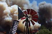 August 16, 2016 - California, U.S - The Blue Cut Fire burns near Lytle Creek Road in Lytle Creek Wednesday. The Blue Cut fire has destroyed an unknown number of homes. More than 1,300 firefighters and other emergency workers are battling the Blue Cut fire, which started early Tuesday 60 miles east of Los Angeles.<br /> ©Exclusivepix Media