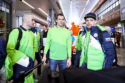 Bostjan Golicic, David Rodman and Luka Gracnar at Departure of Slovenian Olympic team to PyeongChang, on February 6, 2018 in Aerodrom Ljubljana, Cerklje na Gorenjskem, Slovenia. Photo by Morgan Kristan / Sportida