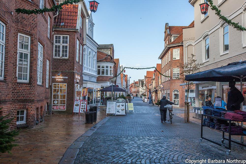 Main street downtown Tonder Havn, Denmark