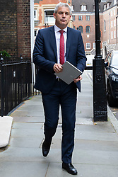 © Licensed to London News Pictures. 15/07/2019. London, UK. Secretary of State for Exiting the European Union Stephen Barclay is seen leaving an address in Westminster that is used by Conservative Party leadership candidate Boris Johnson. Later today both leadership candidates will take part in a hustings. Photo credit: George Cracknell Wright/LNP