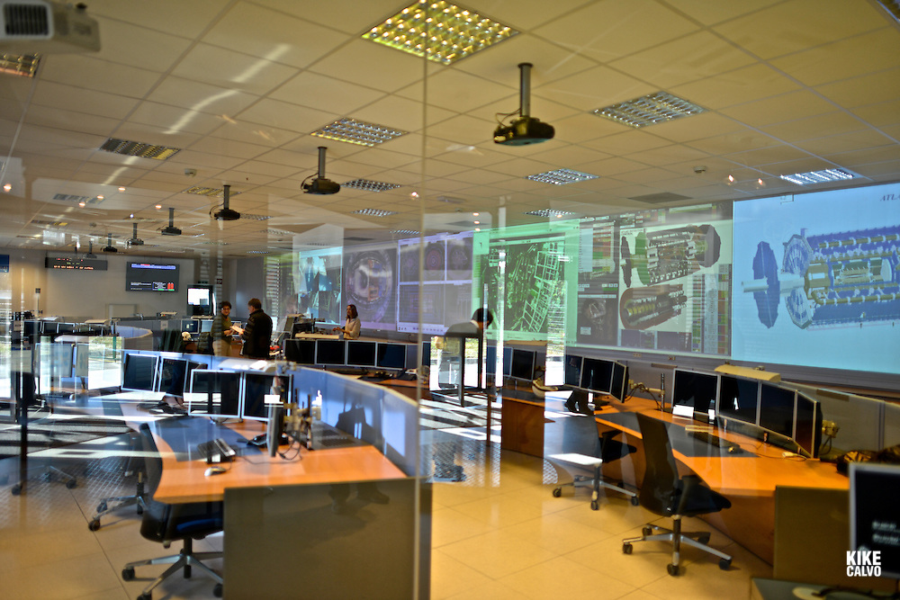 General view of the ATLAS particle detector control room. CERN, the European Organization for Nuclear Research, is the biggest particle physics laboratory in the world.