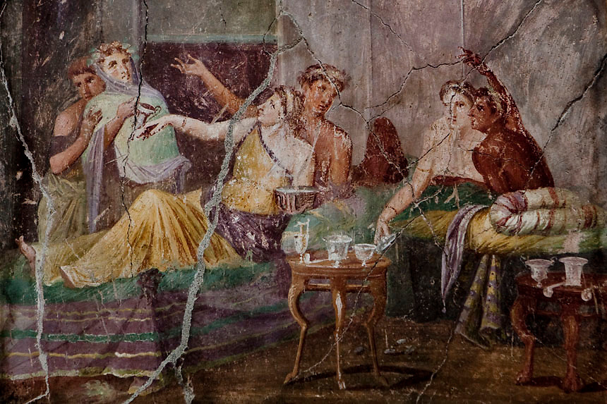Roman fresco with banquet scene inside the House of Chaste Lovers in Pompeii.Nearly 4 month after the collapse of the House of the Gladiators and then of a wall at the House of the Moralist, Pompeii still faces neglet and mismanagement.Now the Italian government has begun to investigate the matter. Nine people are to be questioned, although Marcello Fiori, the emergency commissioner who was appointed to save the site in 2008, is conspicuously absent from the group.Those who will be grilled by the public prosecutor include the former superintendent of Naples and Pompeii, the site director who oversaw the waterproofing of the House of the Gladiators, the head of technical services at Pompeii, and an architect. The investigation will also examine Fiori's administration, which ended in July, including its use of government funds, which many critics have seen as wasteful and ineffective.