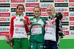 Gold medal forFionnuala Britton, silver medal for Ana Dulce Felix of Portugal and bronze medal for Gemma Steel of Great Britain of Ireland during the Senior Women's race during the 18th SPAR European Cross Country Championships Velenje 2011, on December 11, 2011 in Stadium Ob jezeru, Velenje, Slovenia. (Photo By Matic Klansek Velej / Sportida.com)